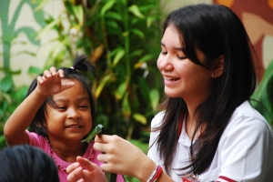 Who is teaching who?  Sabrina at the Fountain of Life Children's Centre in Pattaya
