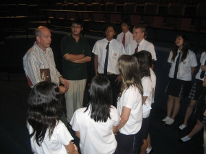 Peter speaking with students from Regents International School Pattaya after a presentation