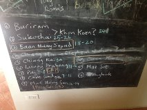 The planned itinerary on our kitchen blackboard prior to departure