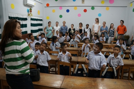 Pun Lennon with the Thai Tims at their school