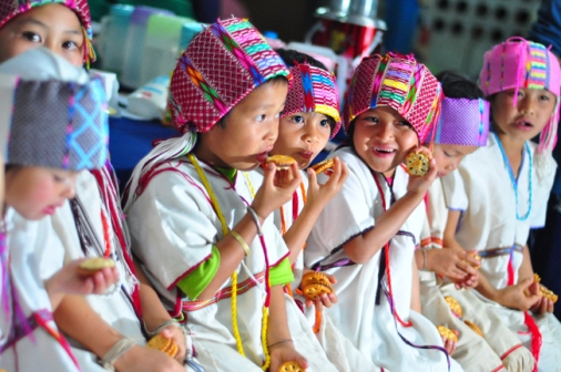 Baan Maelid students in their traditional Karen dress