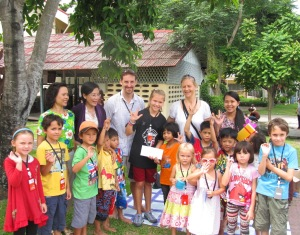 Poppy with Yok and her friends at the Deaf School in Pattaya, Thailand