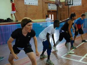 Mark, centre, lining up for Team Gap Dodgeball