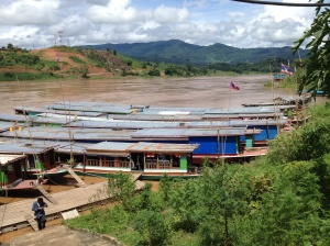 Slow boats on the Mekong at Huay Xai In Laos