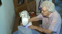 Lillian Weber making dresses for others