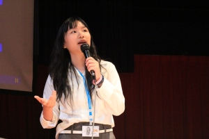 Pantila, as head student, encouraging whole school voting for student leadership positions during election time