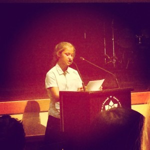 Poppy presenting at the conference